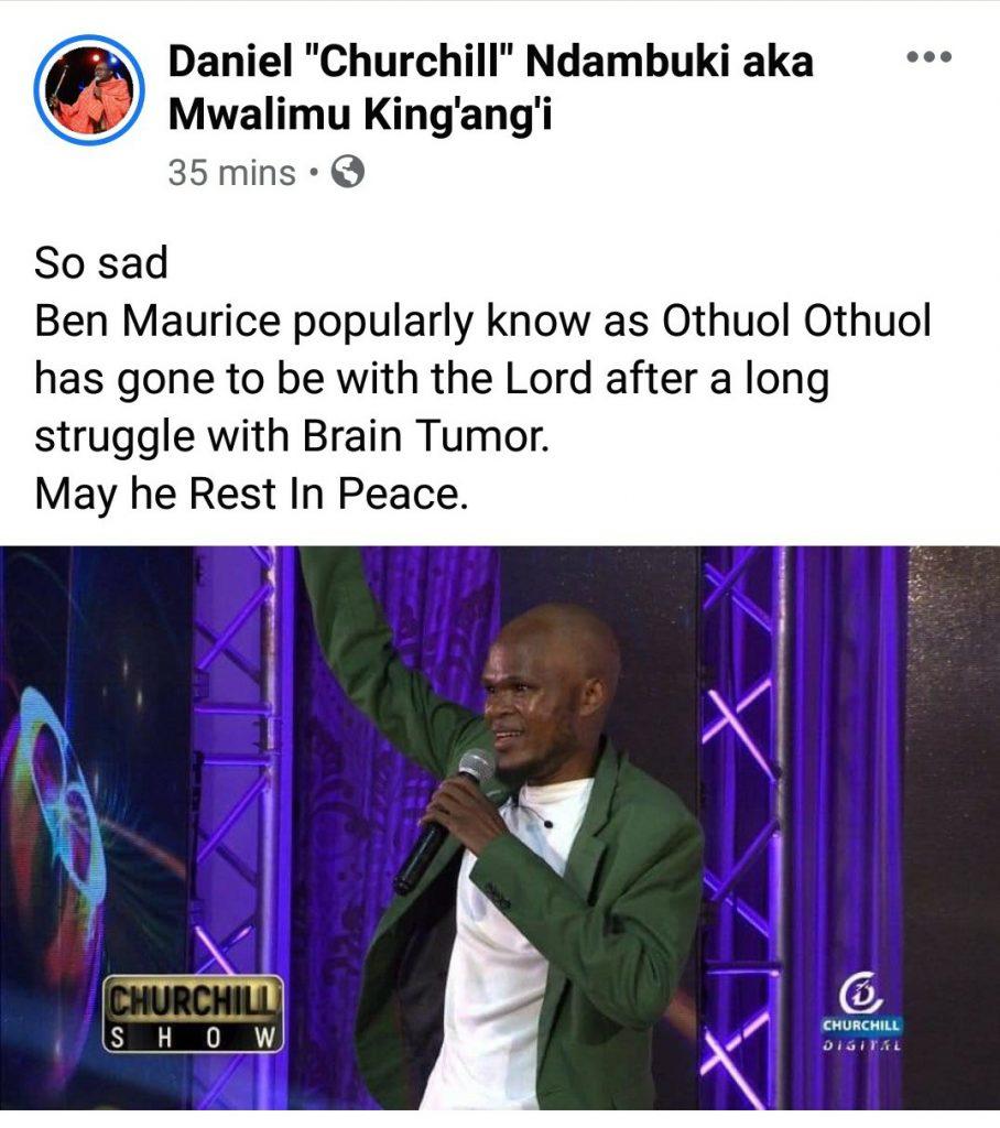 Churchill show comedian Othuol Othuol dies